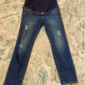 H&M Mama Skinny High Rib Ankle Distressed Jeans 14